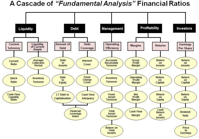 A Cascade of Fundametal Analysis Financial Ratios